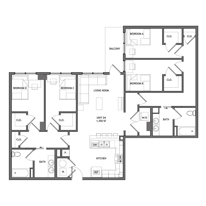 4 Bed 2 Bath - D4 (Small Balcony)